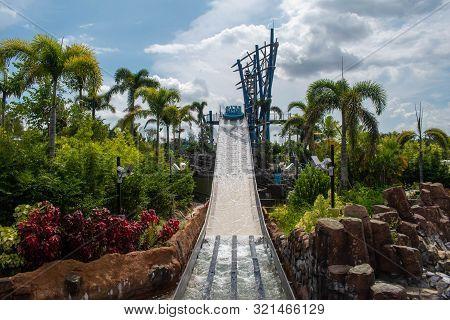 Orlando, Florida. August 28, 2019. People Enjoying Amazing Infinity Falls Attraction At Seaworld 331