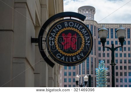 Orlando, Florida. August 17, 2019. Grand Bohemian Gallery Sign On Orlando City Hall Background At Do