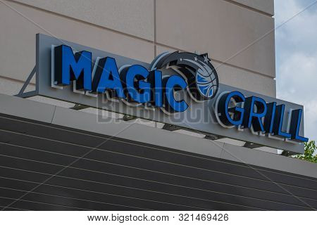 Orlando, Florida. August 17, 2019. Magic Grill In Anway Center At Downtown Area 90