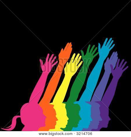 Profiles Hands Rainbow