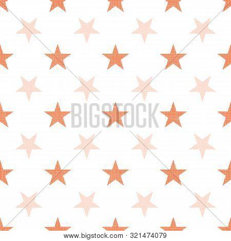 Orange Halloween Stars Linen Textured Repeat Pattern