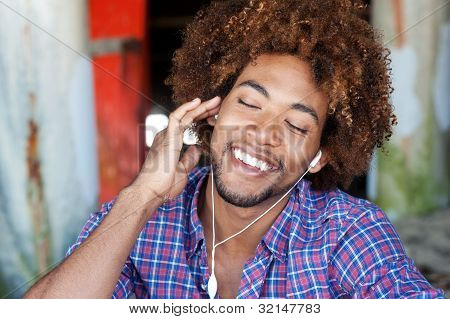 Portrait Of African American Listening To Music