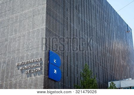 Lyon, France - July 13, 2019: Bibliotheque Municipale De Lyon Main Building In Part Dieu With Its Lo