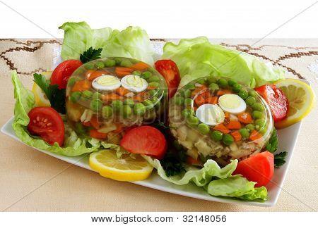 gelles with meat,vegetable,lemon juice for lunch or breakfast
