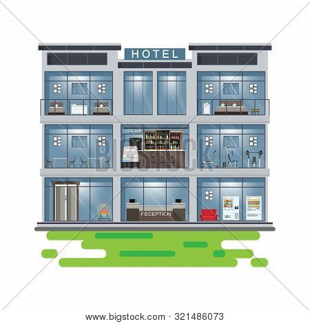 Hotel Interior Set Inside Building Solated On White With Reception And Rooms, Restaurant And Cafe.ve