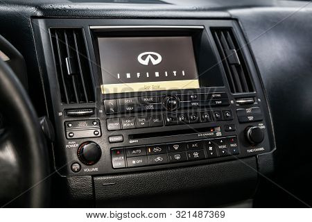 Novosibirsk, Russia - August 24, 2019:  Infiniti Fx,  Close-up Of The Dashboard, Adjustment Of The B