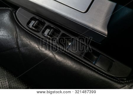 Novosibirsk, Russia - August 24, 2019:  Infiniti Fx,  Close Up Of A Door Control Panel In A New Mode
