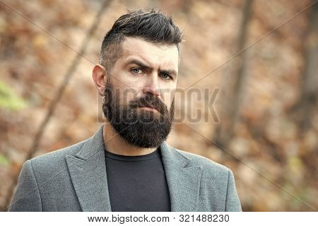 Hipster Appearance. Man Bearded Hipster Stylish Fashionable Coat. Stylish Beard And Mustache Fall An