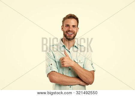 Best Choice. Man Handsome Bearded Guy Smiling On White Background Isolated. Guy Cheerful Smile Macho