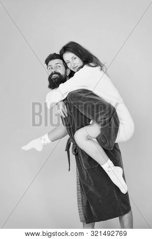 Having Fun. Woman And Bearded Man In Robe. Perfect Morning. Happy Family. Romantinc Couple In Love.