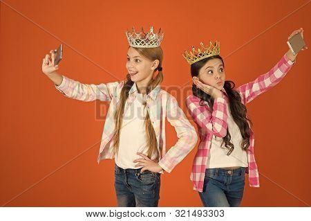 Spoiled Children Concept. Egocentric Princess. Kids Wear Golden Crowns Symbol Princess. Warning Sign