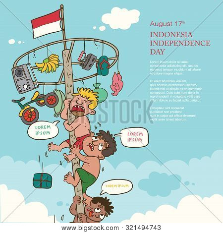 Celebration Indonesia Independence Day, The Greasy Pole Game Cartoon Illustration