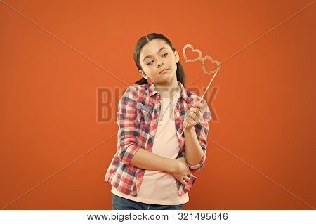 Ive Got My Goggles On You. Little Child Looking At Prop Goggles On Orange Background. Adorable Small
