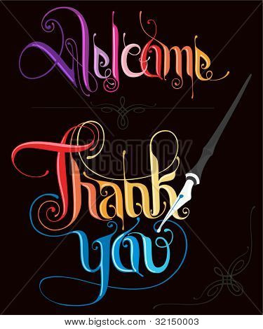Thank you and welcome stylish typography