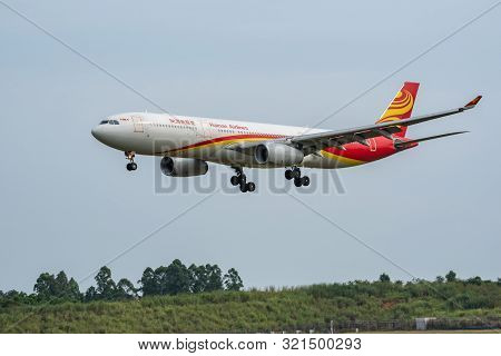 Chengdu Airport, Sichuan Province, China - August 28, 2019 : Hainan Airlines Airbus A330 Commercial