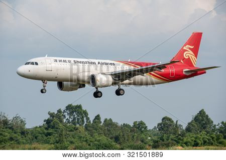 Chengdu Airport, Sichuan Province, China - August 28, 2019 : Shenzhen Airlines Airbus A320 Commercia