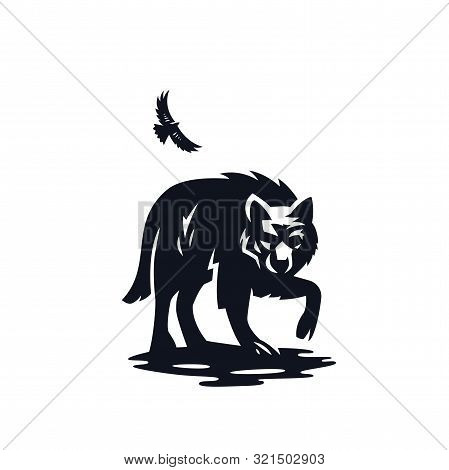 Illustration Of A Wolf Or Wild Dog. Eagle In The Sky.