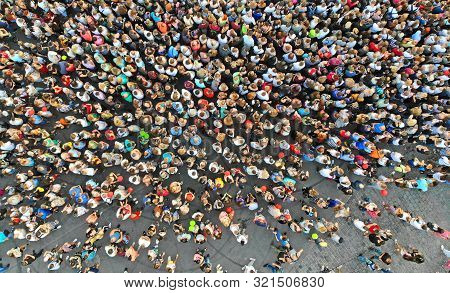 Aerial. People Crowd Background. Top View From Drone.