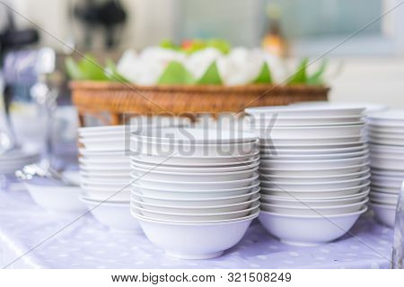 Set Of Dishes For Dinner Party At The Banquet Table
