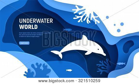 Underwater World Page Template. Paper Art Underwater World Concept With Dolphin Silhouette. Paper Cu