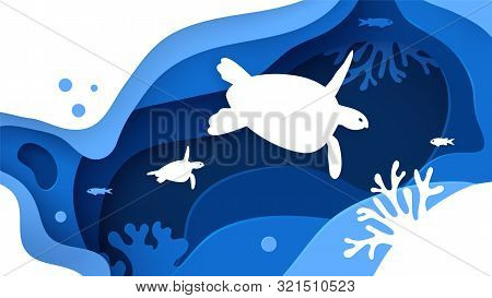 Underwater World. Paper Art Underwater Ocean Concept With Turtles Silhouette. Paper Cut Sea Backgrou