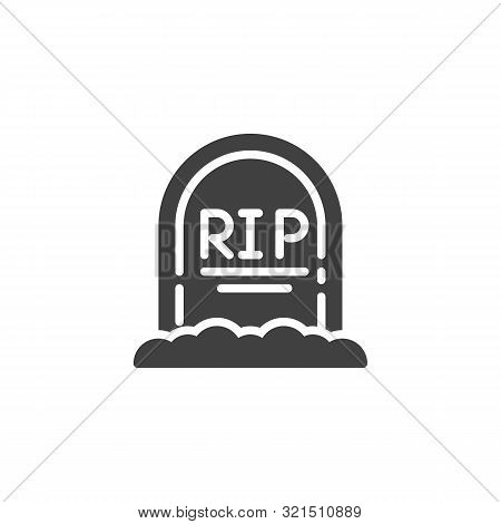 Rip Grave Vector Icon. Headstone Filled Flat Sign For Mobile Concept And Web Design. Halloween Tombs