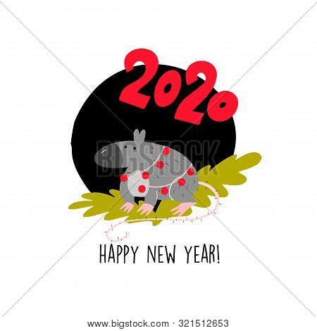 Funny Vector Illustration Of Rat Sitting On Spruce Brunch. 2020 Year Symbol. Quote Happy New Year