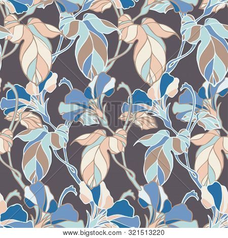 Vector Seamless Pattern Botanical With Bindweed. Can Be Used For Printing On Paper, Textiles, Sticke