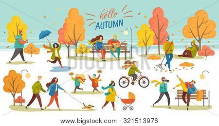 Hello Autumn Vector, Man And Woman Walking Dog, Couple In Autumn Park. Character With Umbrella, Lady