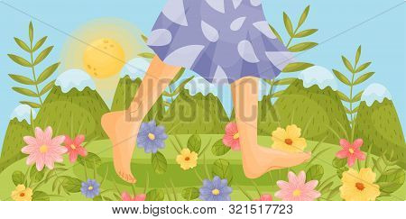 Bare Feet Are Walking In A Clearing. Vector Illustration.