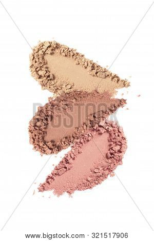 Face Powder, Bronzer, Blush Swatch Isolated On White Background. Nude Eye Shadow Smear. Beige, Brown