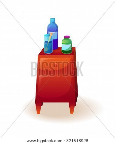 Medicines On Table Vector Illustration. Flu, Influenza, Cold Remedies. Illness, Sickness Cure, Treat