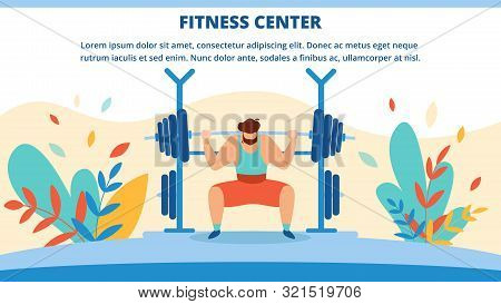 Fitness Center Horizontal Banner With Man Raise Barbell. Invitation Flyer Outdoor Sports Activity Fo