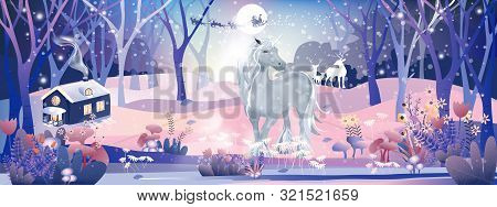 Fantasy Landscape Of Magic Forest With Fairy Tale Unicorn And Reindeers Looking At Santa Claus Sleig