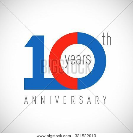 10 Th Anniversary Numbers. 10 Years Old Congrats, Colorful Logotype. Congratulation Idea. Isolated A
