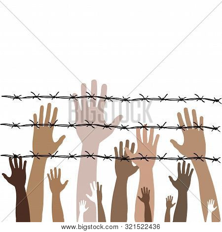 Barbed Wire With Hands. Illustration On The Theme Of Dictatorship And The Holocaust. Console Camp.