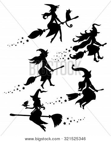 A Set Of Black Silhouettes Of Witches Flying On A Broomstick. A Collection Of Silhouettes For Hallow