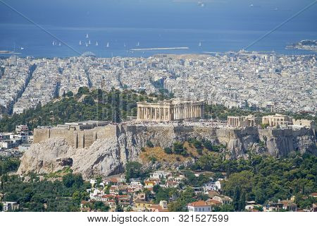 The Acropolis In Centre Of  Urban Athens View From Top Mount Lycabettus The Highest Point In The Cit
