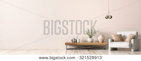 Interior Design Of Living Room. Wooden Coffee Table, Lamp And White Armchair, Panorama 3d Rendering