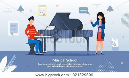 Bright Banner Invitation Written Music School. Development Musical Abilities And Search For Hidden T