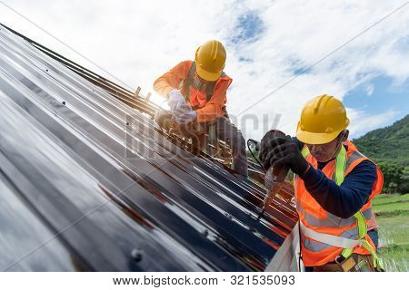 Technician Is Work Roof Repair Construction Engineer Wear Safety Uniform Inspection Metal Roofing Wo