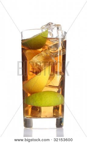 Iced tea with lemon and lime isolated on white