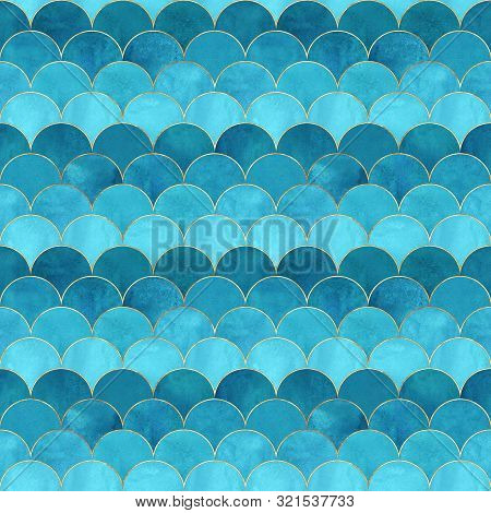 Mermaid Fish Scale Wave Japanese Magic Seamless Pattern. Watercolor Hand Drawn Bright Teal Color Bac