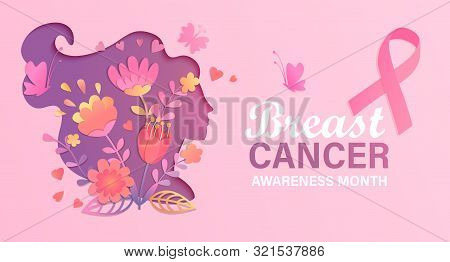 Breast Cancer Awareness Month. World Preventive Health Care Initiative.banner With Paper Cut Woman F