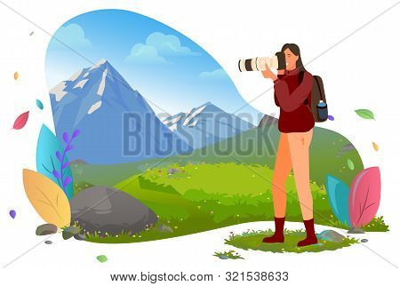 Photographer With Photo Camera In Mountains Vector. Traveler Shooting Or Photographing Wild Nature A