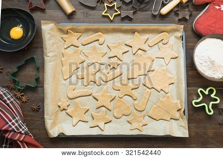 Homemade Christmas Cookies Before Baking. Xmas Pattern.