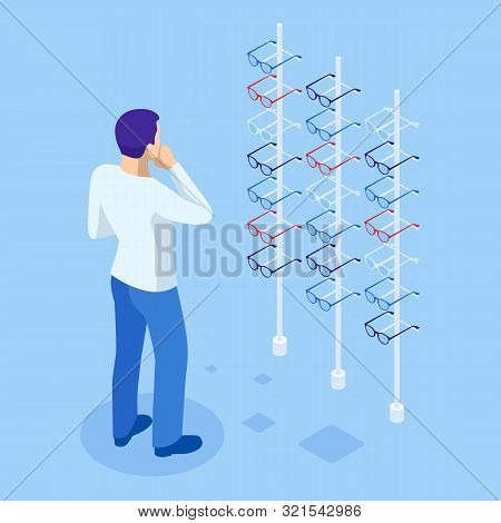 Isometric Showcase With Glasses In Modern Optic Store. A Man Chooses Glasses To Improve Vision In A