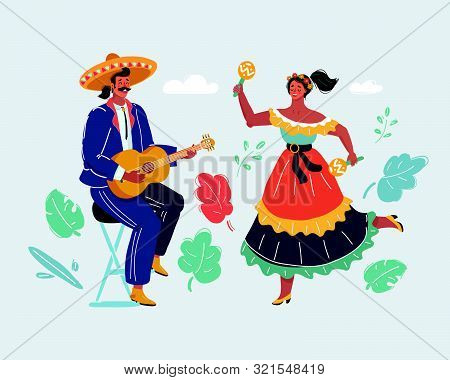 Cartoon Vector Illustration Of Mexican Holiday. Man And Woman Costumes Sing, Play The Guitar And Dan
