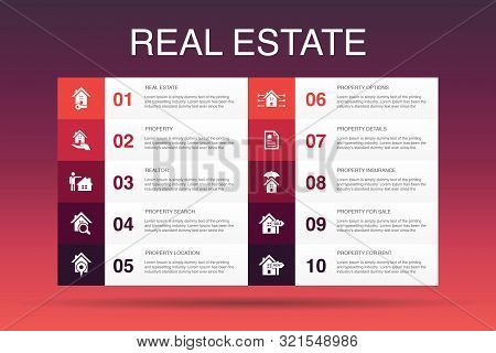 Real Estate Infographic 10 Option Template.property, Realtor, Location, Property For Sale Icons
