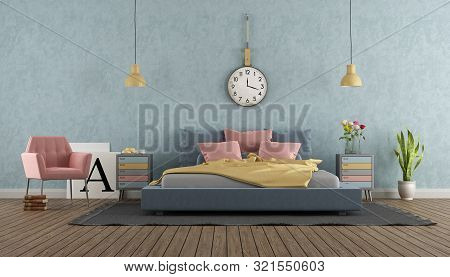 Master Bedroom In Pastel Colors With Vintage Furniture And Colorful Double Bed - 3d Rendering